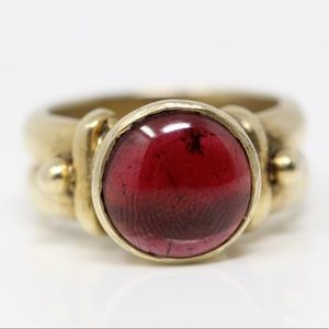 Jewelry - 925 Gold Plate Smooth Garnet Chunky Ring 6